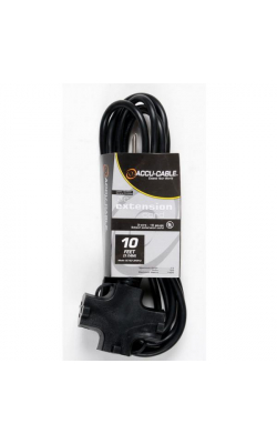 EC163-3FER10 - 10' 3-Way AC Extension Cable - 16 Gauge