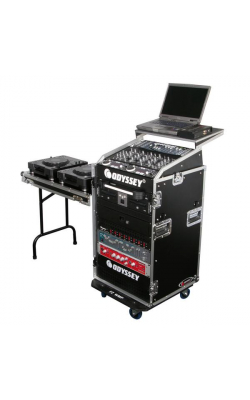 FRGS1016WDLX - Flight Ready Series Glide Style 10u X 16u Combo Rack with Wheels & Side Table