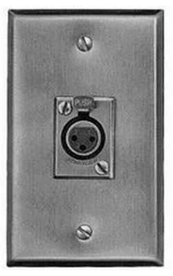 J3FS - XLR Wall Plate with 3-Pin XLRF Connector (Stainless Steel)