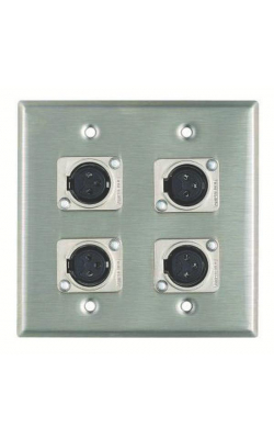 WP2011 - Wall Plate, 4 XLRF (Latchless), 2 Gang