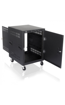 "RX14-25SFD - 14RU Mobile Equipment Rack with Doors (25.5"" Deep)"