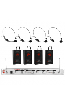 U-41-HM3 - U-41 Quad UHF Wireless Headset System (4 HM-3 Headsets)