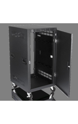 "RX21-25SFD - 21RU Mobile Equipment Rack with Doors (25.5"" Deep)"