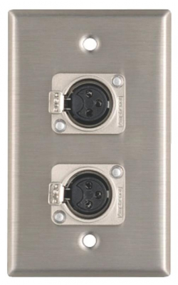 WP1013 - Wall Plate, 2 XLRF Connectors, 1 Gang