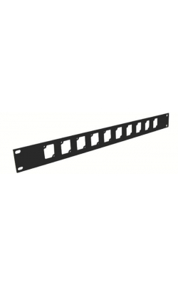 RPL-110 - Single Space Rack Mount Panel Machined for 10 Connectrix Cutouts